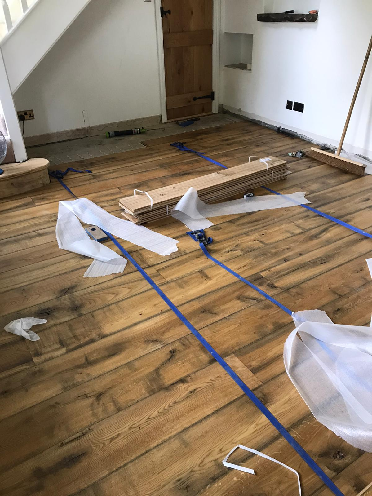 New floor installation. Solid Oak bespoke produced by Priory Hardwoods Ltd.