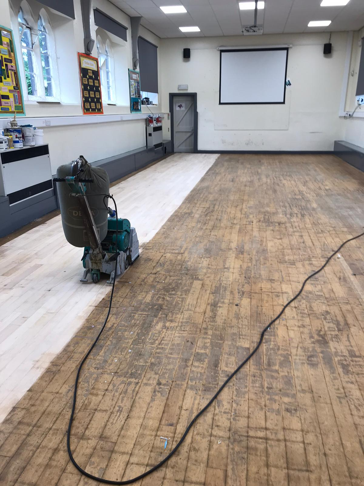 School hall part sanded