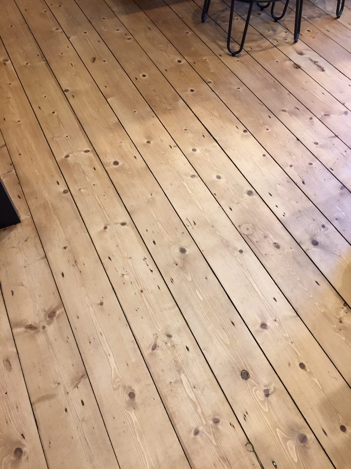 Pine floor after. Stained Victorian pine and lacquered