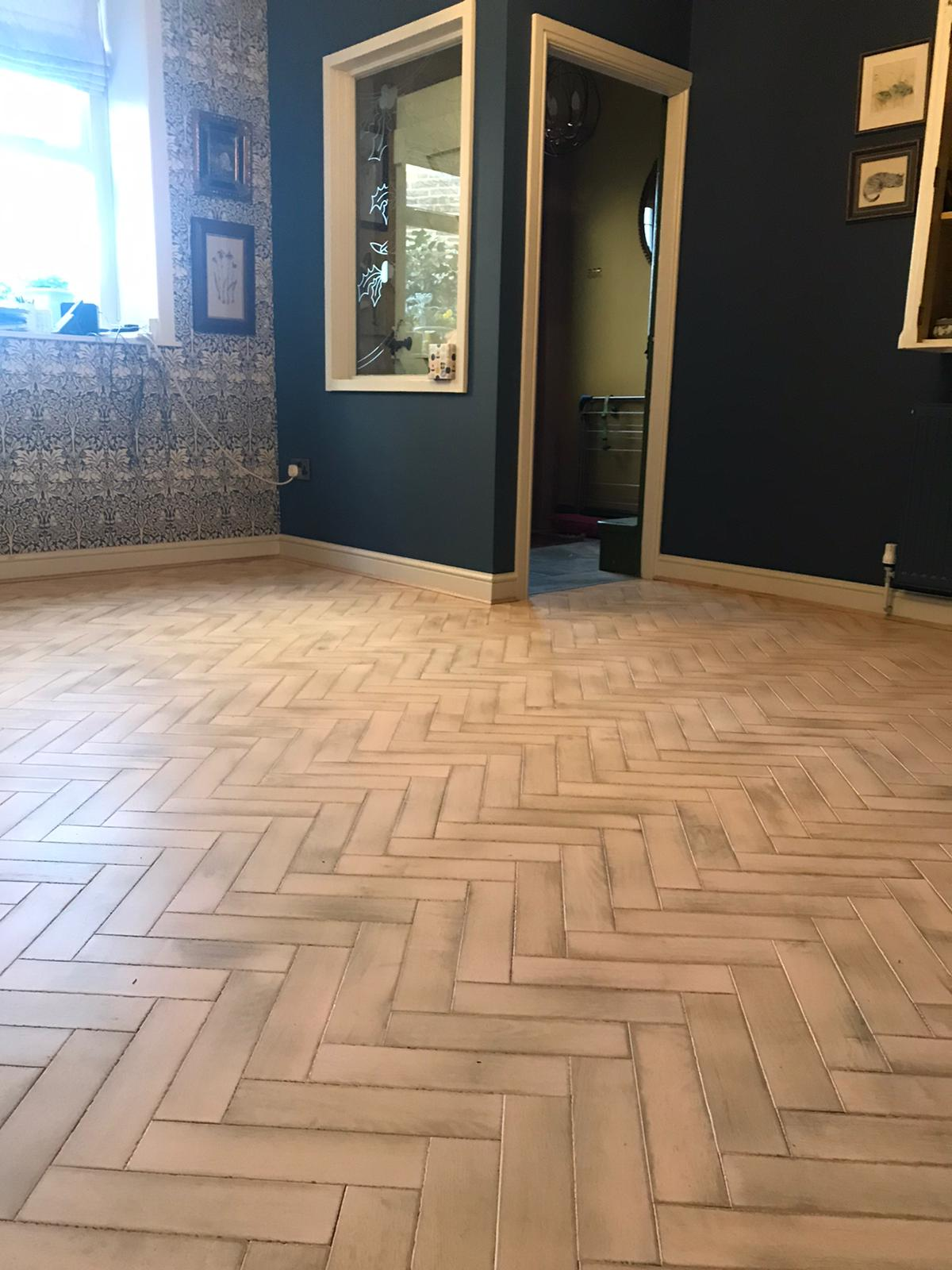 Installation of herringbone parquet. Bespoke produced by Priory Hardwoods Ltd